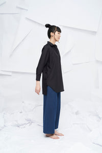 Ling Asymmetrical Long Shirt - Black