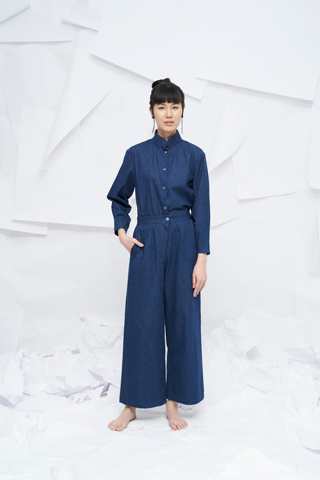 Aiko Wide Leg Pants- Denim