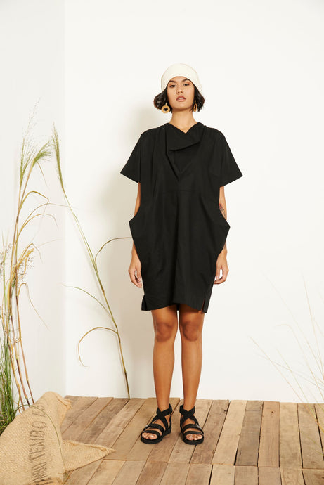 Kio Drape Collar Dress - Black