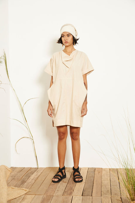 Kio Drape Collar Dress - Cream