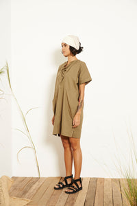 Kio Drape Collar Dress - Green