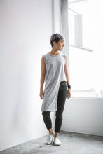 Evy Asymmetrical Sleeveless Top - Grey