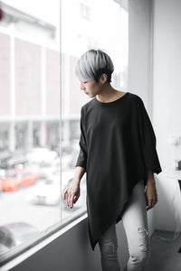 Lea Asymmetrical Batwing Top - Black