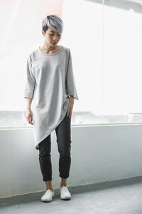 Lea Asymmetrical Batwing Top - Grey