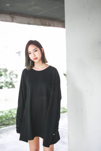 Oversize Jersey Knit Long Sleeve Top