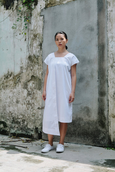 Nell Drape Dress - White