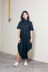 Ning Asymmetrical Dress - Black
