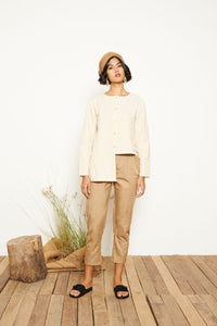 Trea Asymmetrical Long Sleeve Shirt - Cream