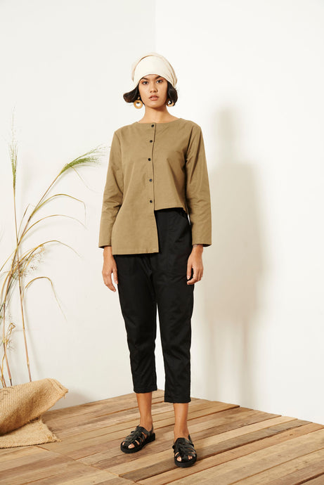 Trea Asymmetrical Long Sleeve Shirt - Green