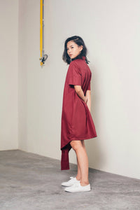 Ning Asymmetrical Dress - Red