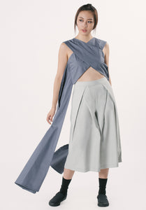 X-cropped Top with Side Drapes - Dark Grey