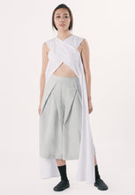 X-cropped Top with Side Drapes - White
