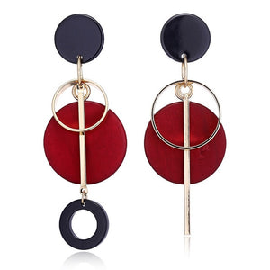 Statement Drop Round Wood Earrings
