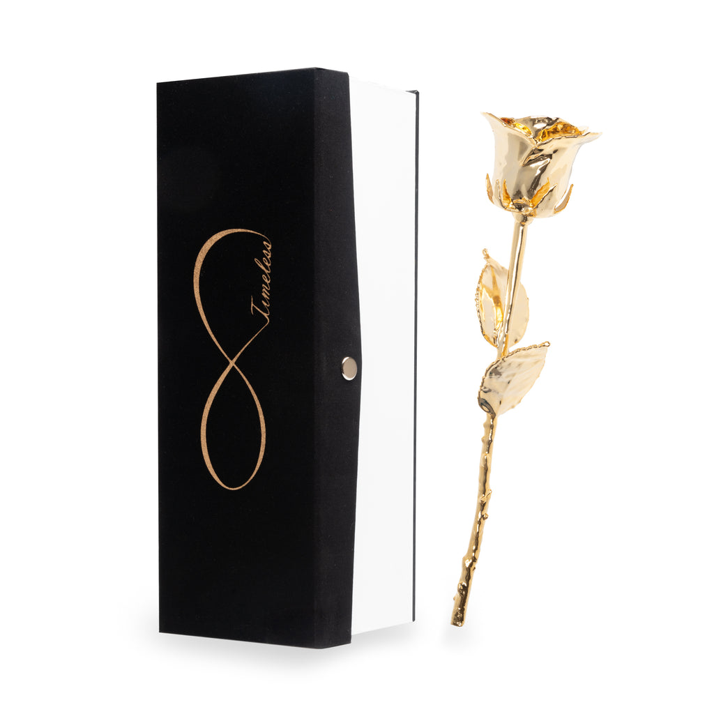 Timeless Rose, Hand Dipped in Actual 24 Karat Gold, 100% 24K Real Rose, Satin Gift Box with Glass Vase, Great Gift idea for Anniversary, Valentine's Day, Mother's Day, Christmas, and Birthdays