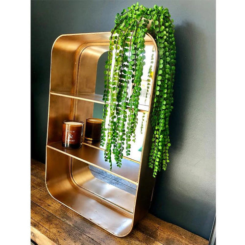 Vintage style bronze mirror with 2 shelves with rounded corners