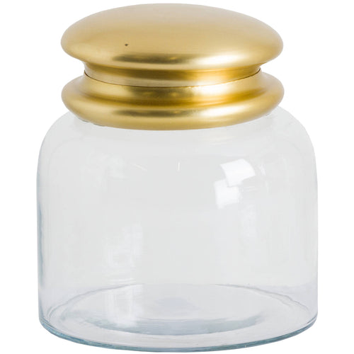 A handsome medium sized handmade circular storage jar made from glass. It has lovely bright brass lid and is perfect for storing cotton balls.