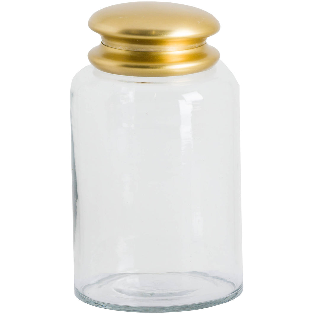A tall and handsome handmade clear glass storage jar with a bright brass lid. The jar is 20 cm tall and would look great on your kitchen counter or shelf. Perfect for storing coffee or sugar.