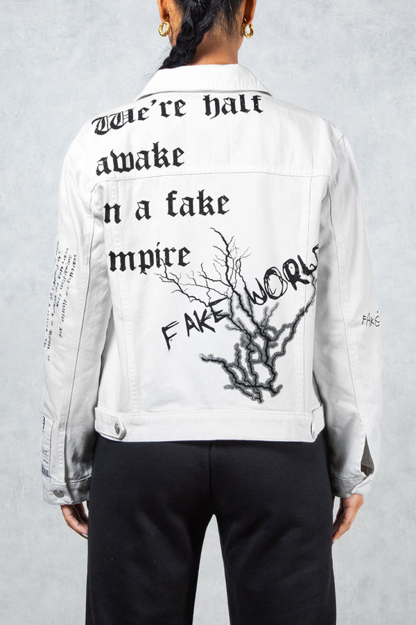 Half Awake Women's Graffiti Print Denim Jacket - White