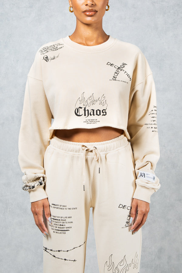 Art Of War Graffiti Print Cropped Sweatshirt - Stone