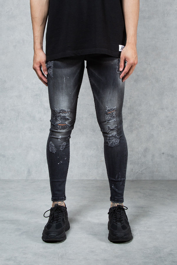 F1 - Sonoma Paint Splatter Knee Rip Spray On Jeans - Black Wash