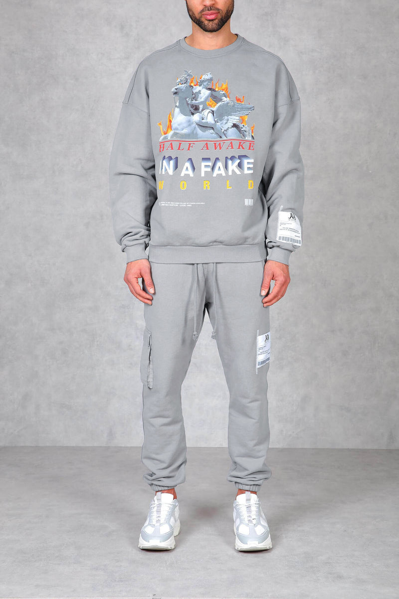 Half Awake Graphic Print Washed Relaxed Fit Joggers - Grey