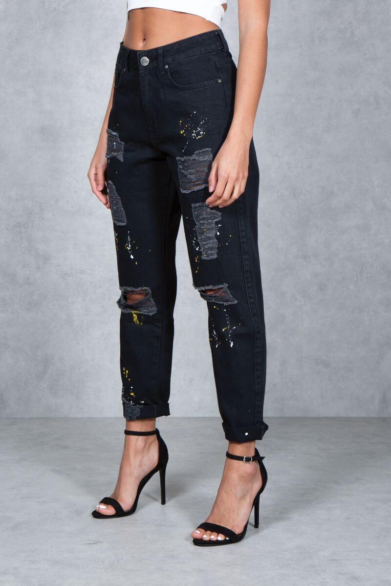 Womens  No Regrets Paint Mom Jeans - Black