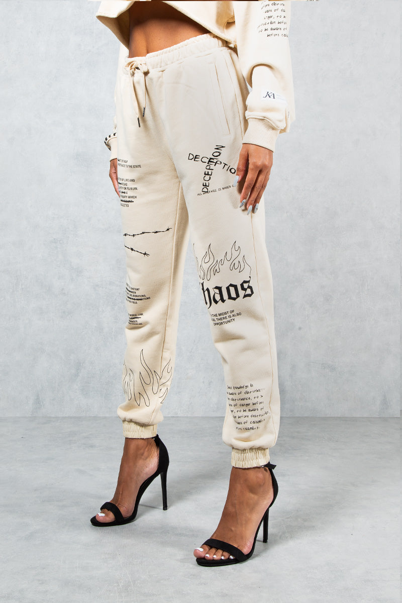 Art Of War Graffiti Print Joggers - Stone