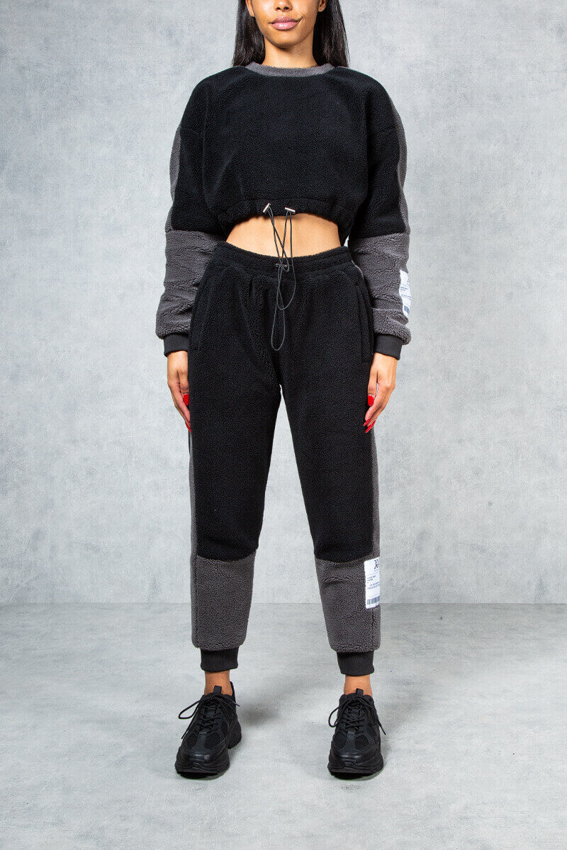 Womens Prime Relaxed Cropped Fleece Sweatshirt - Black/Grey