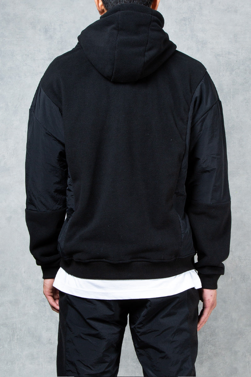 Phantom Oversized Split Fabric Hoodie - Black