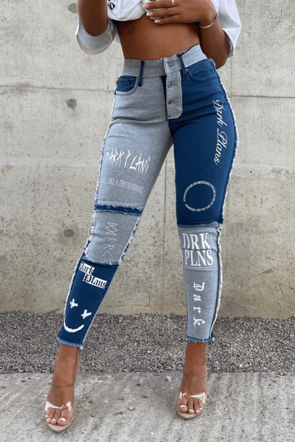 Womens Dark Plans Jean - Blue