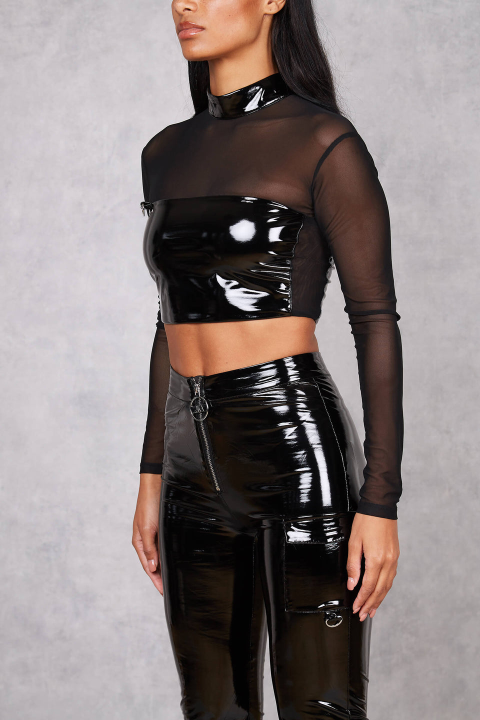 Womens Kilian Patent Long Sleeve Crop Top