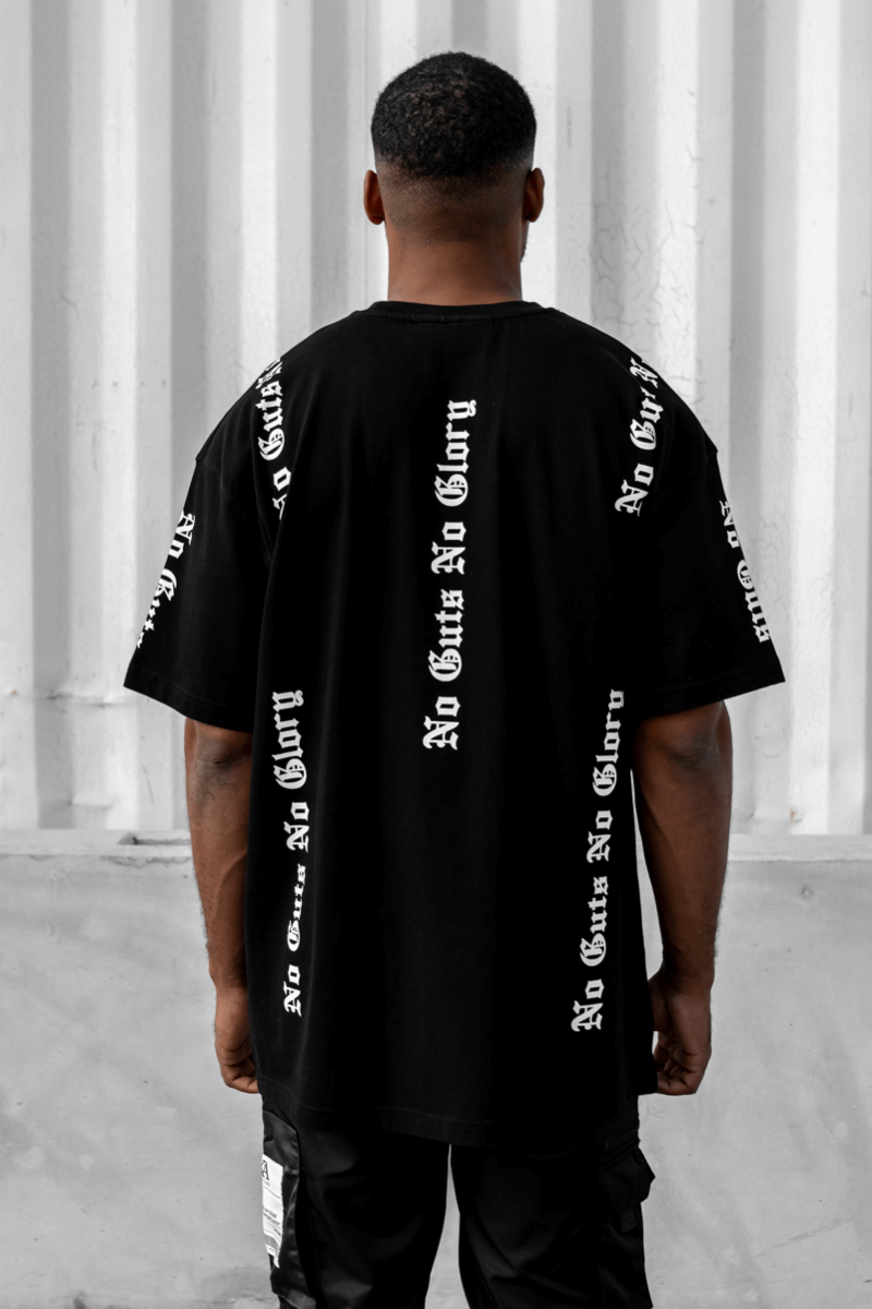 Glory Graffiti Print Oversized T-Shirt - Black