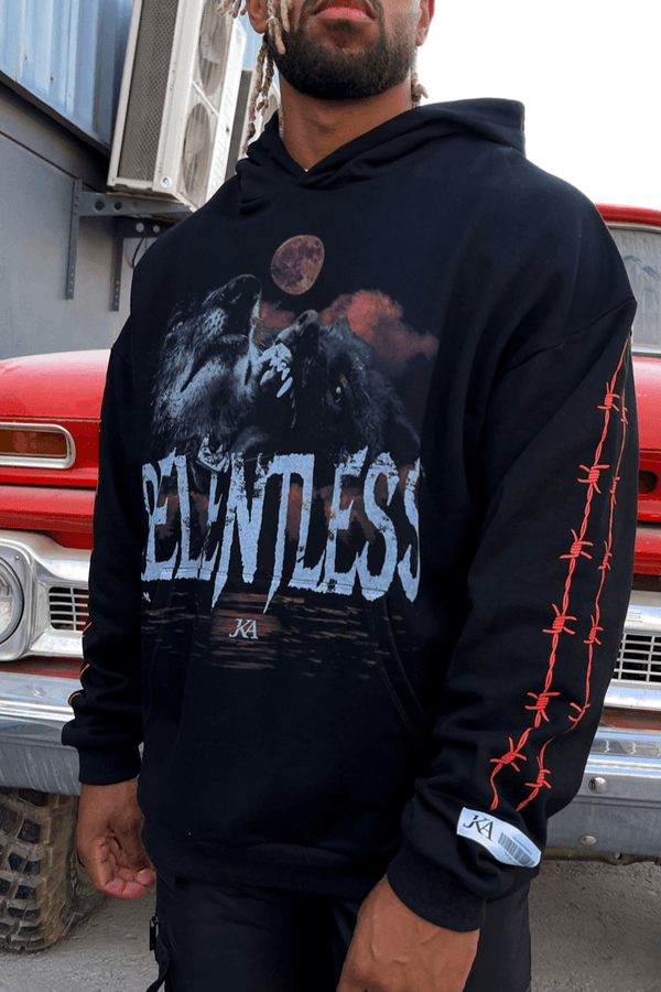 Relentless GraffitiI Print Oversized Hoodie - Black
