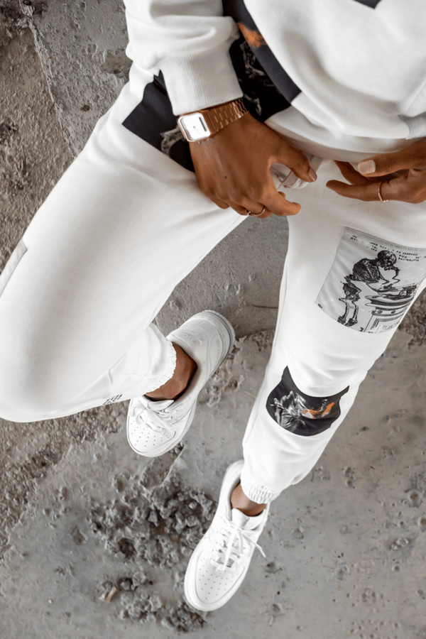 Knowlege Patch Tracksuit Joggers - White