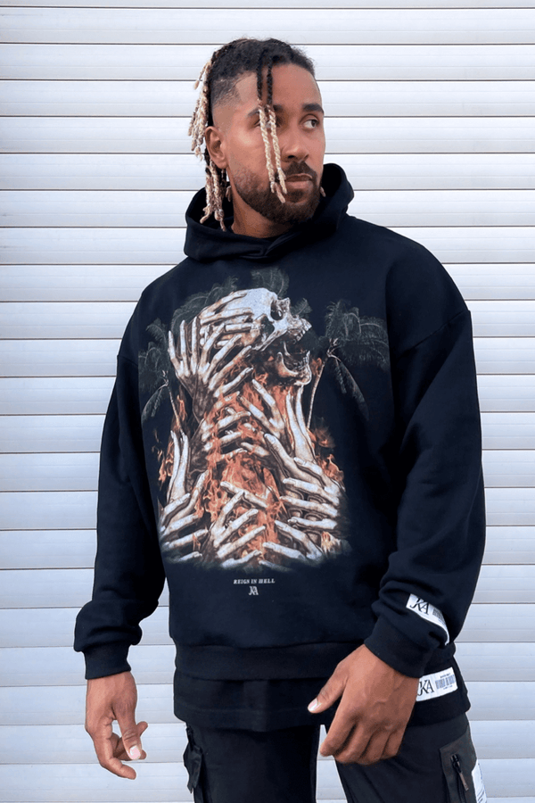 Rain In Hell Graffiti Print Oversized Hoodie - Black