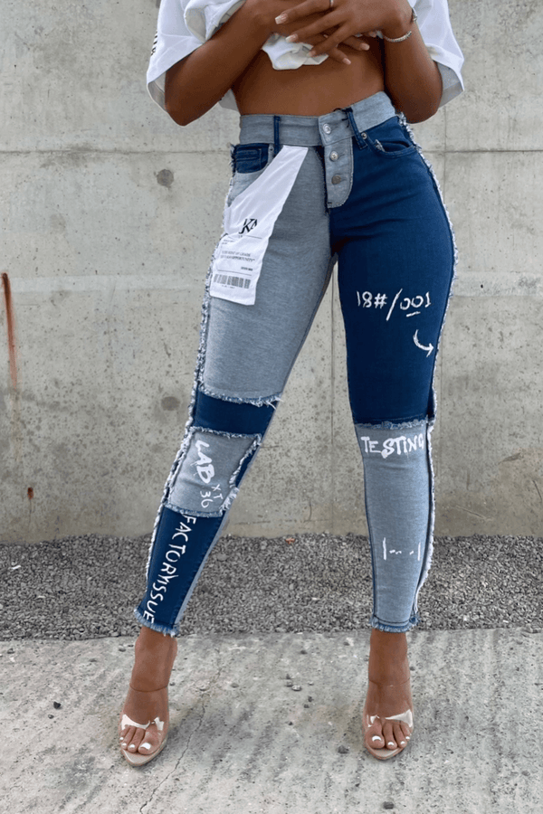Women's Testing Reverse Inside Out Patch Graffiti Jeans - Blue