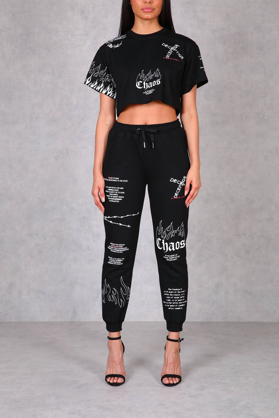 Womens Art Of War Graffiti Cropped Short Sleeve T-Shirt - Black