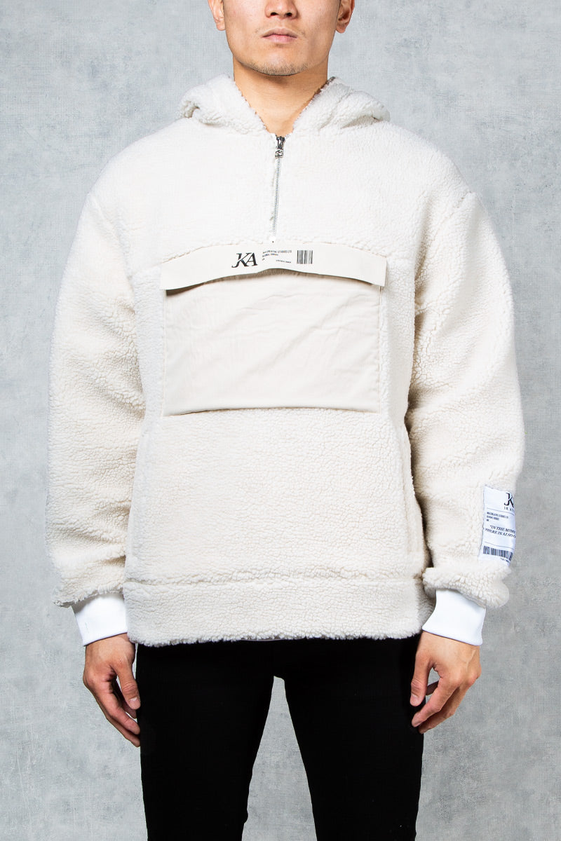 Dystopia Relaxed Boxy Fit Teddy Fleece Hoodie - Stone