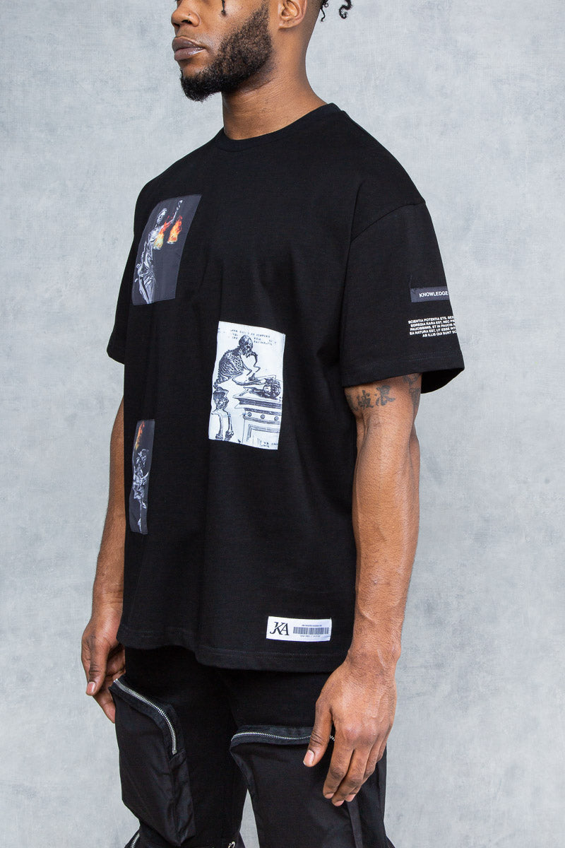 Medusa Print Graffiti T-Shirt - Black