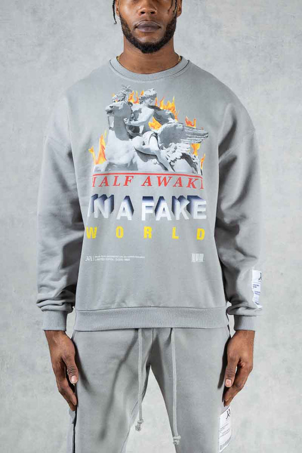 Half Awake Graphic Print Oversized Washed Sweatshirt - Grey