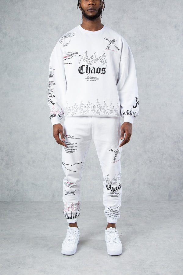Chaos Graffiti Oversized Sweatshirt - White