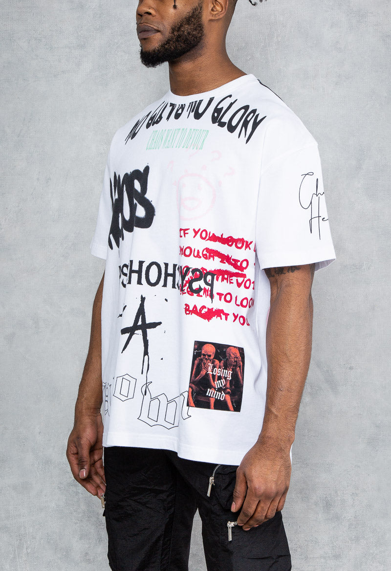 Psycho Graffiti Print Oversized T-Shirt - White