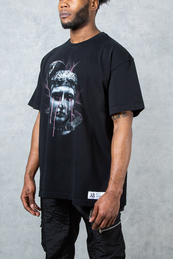 Immortal Oversized Snake Print T-Shirt - Black 220gsm