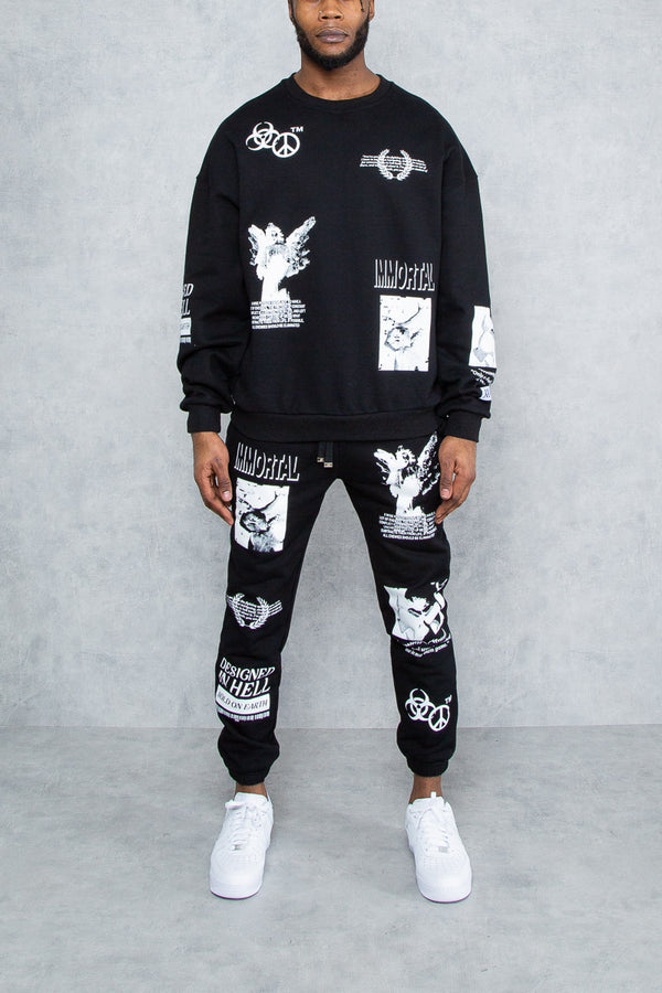 Enemies Graffiti Patch Print Oversized Sweatshirt - Black