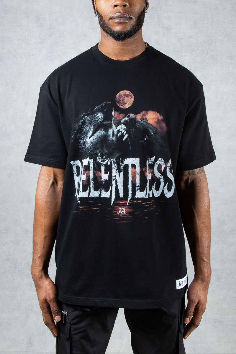 Relentless Graffiti Print Oversized T-Shirt - Black