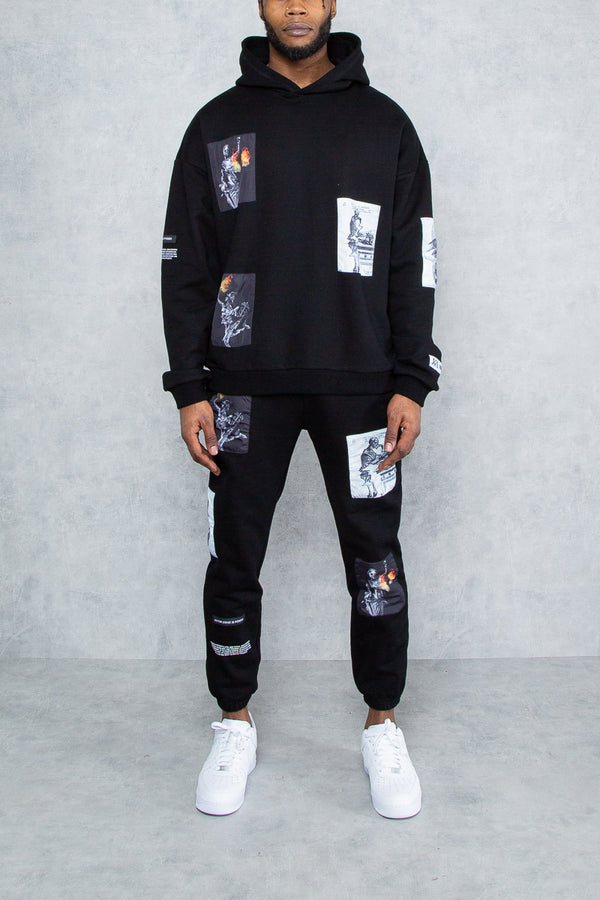 Knowledge Patch Oversized Hoodie - Black