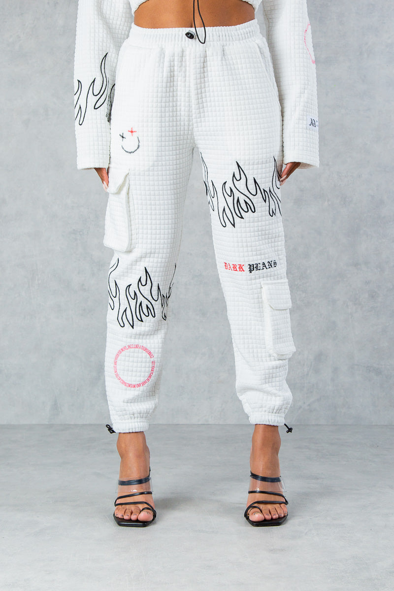 Twisted Flame Stitched Waffel Jogger's - white