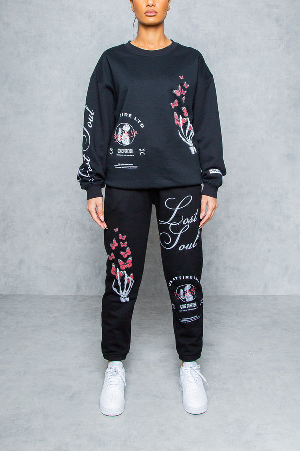 Lost Soul Graffiti Print Sweatshirt - Black