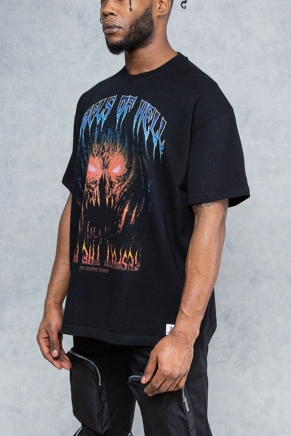 Angels Of Hell Print Oversized T-Shirt