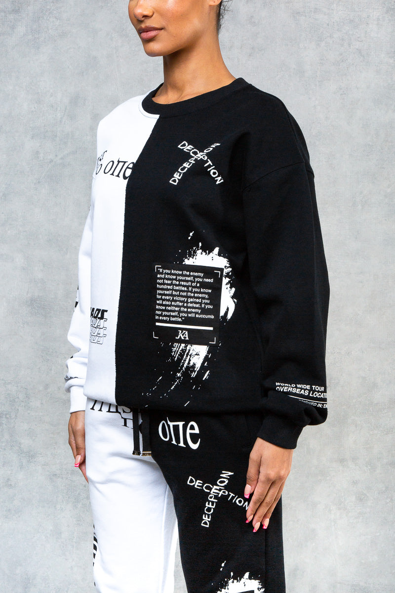 Undefeated Split Graffiti Oversized Sweatshirt - Black/White